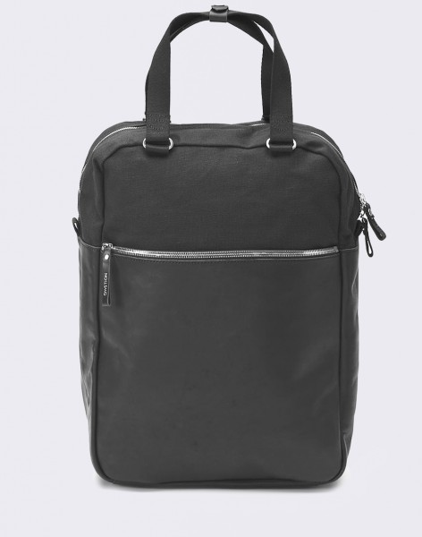 Batoh QWSTION Simple Pack Black Leather Canvas