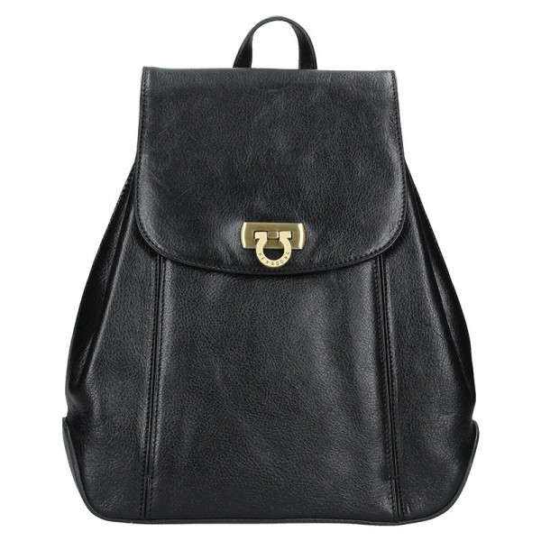 Kožený dámský batoh Hexagona 111429 – černá