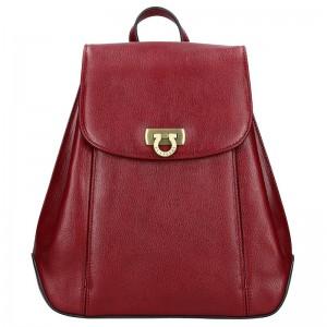 Kožený dámský batoh Hexagona 111429 – vínová