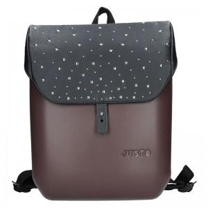 Dámský trendy batoh Ju'sto J-Back – hnědo-černá-kůže
