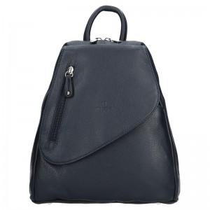 Dámský kožený batoh Hexagona 464783 – tmavě modrá