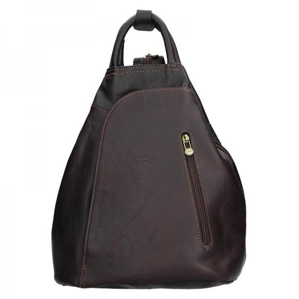 Elegantní dámský kožený batoh Katana Paula – tmavě hnědá