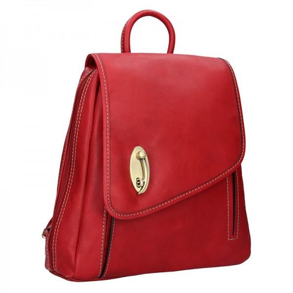 Elegantní dámský kožený batoh Katana Nora- červená