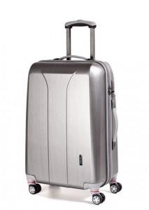 March New Carat L Silver Brushed cestovní kufr na 4 kolečkách TSA 74 cm