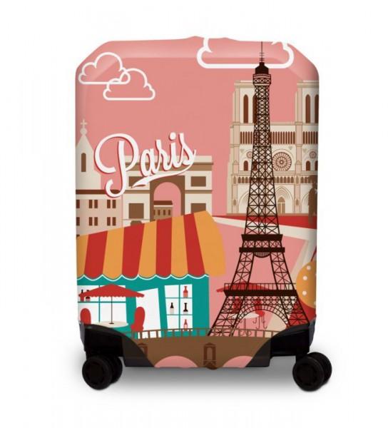BG Berlin Hug Cover L Paris elastický nepromokavý obal na kufr 67-73 cm