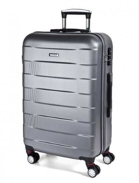 March Bumper L Silver skořepinový cestovní kufr na 4 kolečkách TSA 77 cm