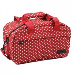 MEMBER'S SB-0043 malá lehká palubní taška 35x20x20 cm puntíkovaná červená/bílá 14 l