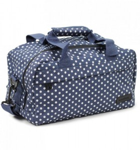 MEMBER'S SB-0043 malá lehká palubní taška 35x20x20 cm puntíkovaná modrá/bílá 14 l