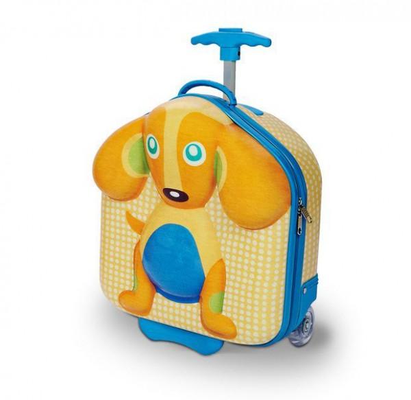 O-OOPS Happy Trolley! Dog 3D dětský cestovní kufřík-batoh na kolečkách 38 cm