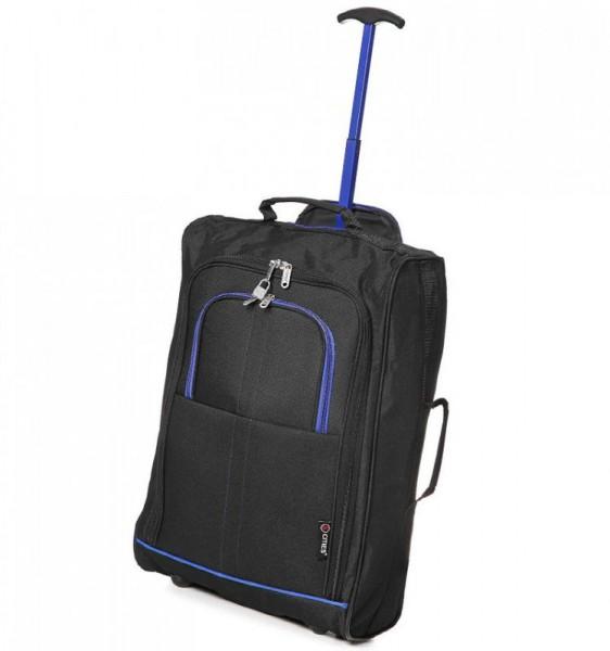 5 Cities T-830 2w S Black/Blue palubní kufr na 2 kolečkách 55x35x19 cm 1,65 kg