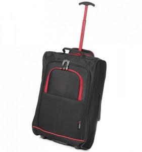 5 Cities T-830 2w S Black/Red palubní kufr na 2 kolečkách 55x35x19 cm 1,65 kg