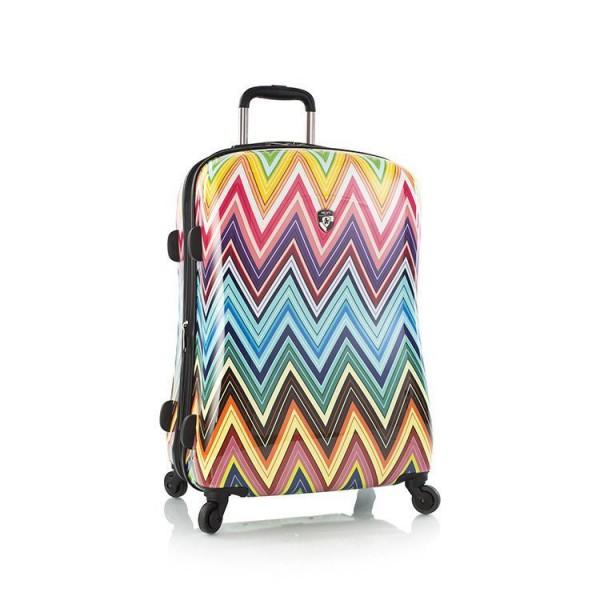 Heys Colour Herringbone 2G M stylový skořepinový cestovní kufr na 4 kolečkách TSA 66 cm