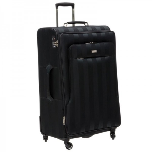 Stratic Saphir L Black cestovní kufr na 4 kolečkách TSA 80 cm 110-123 l Made in Europe