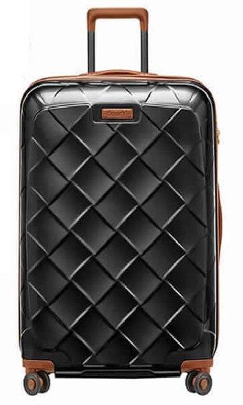 Stratic Leather & More L Black luxusní cestovní kufr na 4 kolečkách TSA 76 cm