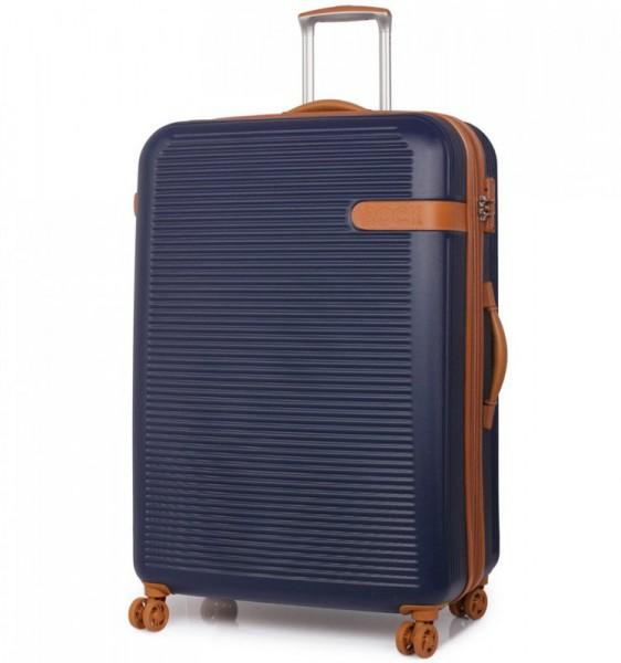 ROCK TR-0159 Valiant XL Navy cestovní kufr na 4 kolečkách TSA 81 cm 130-159 l