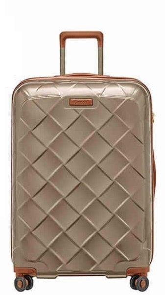 Stratic Leather & More L Champagne luxusní cestovní kufr na 4 kolečkách TSA 76 cm