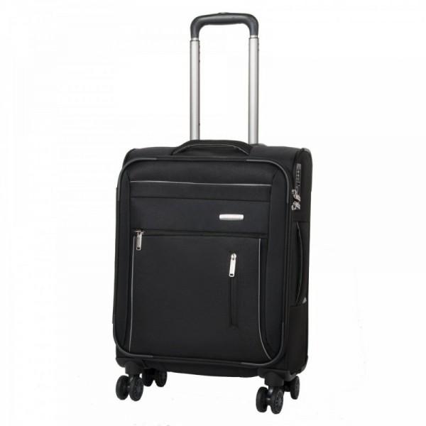 Travelite Capri 4w S Black palubní cestovní kufr na 4 kolečkách TSA 55 cm