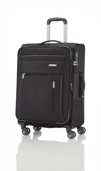 Travelite Capri 4w M Black cestovní kufr na 4 kolečkách TSA 66 cm 67-77 l