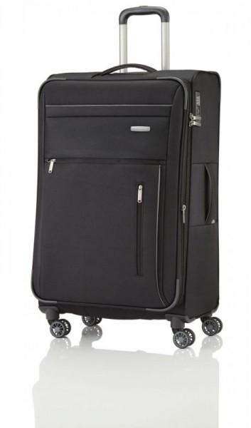 Travelite Capri 4w L Black cestovní kufr na 4 kolečkách TSA 76 cm 98-111 l