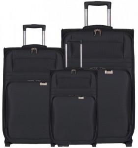 Aerolite T-9515 SML Black sada cestovních kufrů na 2 kolečkách 55/68,5/76,5 cm černá