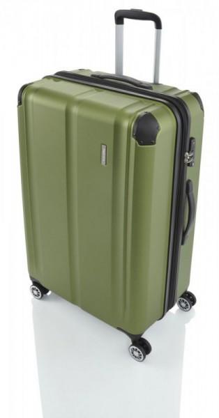 Travelite City 4w L Green cestovní kufr na 4 kolečkách TSA 77 cm 113-124 l