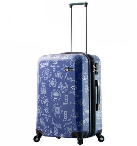 Mia Toro M1089 Love This Life M Blue cestovní kufr na 4 kolečkách TSA 65 cm 69-86 l