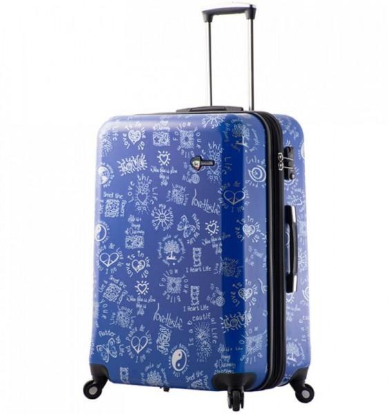 Mia Toro M1089 Love This Life L Blue cestovní kufr na 4 kolečkách TSA 75 cm 110-137 l
