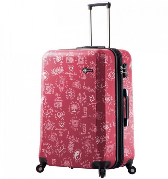 Mia Toro M1089 Love This Life L Red cestovní kufr na 4 kolečkách TSA 75 cm 110-137 l