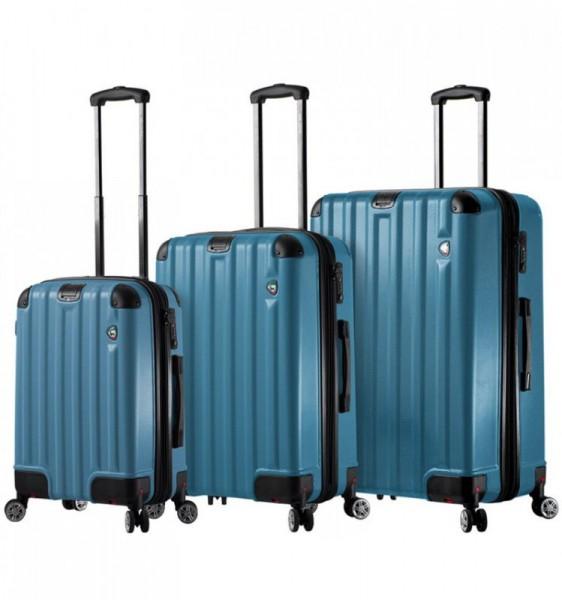 Mia Toro M1300 Ruota Blue sada 3 cestovních kufrů se sklápěcími kolečky TSA 55/70/80 cm