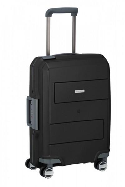 Travelite Makro 4w S Black palubní cestovní kufr na 4 kolečkách TSA 55 cm