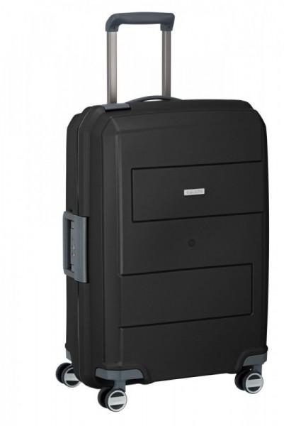 Travelite Makro 4w M Black skořepinový cestovní kufr na 4 kolečkách TSA 66 cm