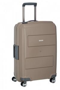 Travelite Makro 4w M Taupe skořepinový cestovní kufr na 4 kolečkách TSA 66 cm