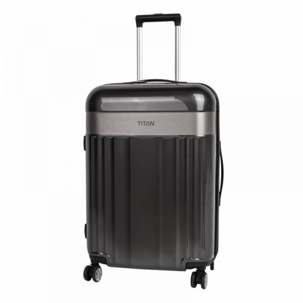 Titan Spotlight Flash 4w M Anthracite skořepinový cestovní kufr na 4 kolečkách TSA 67 cm