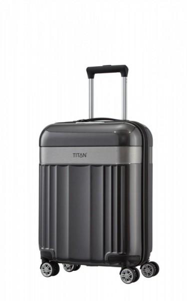 Titan Spotlight Flash 4w S Anthracite skořepinový palubní kufr na 4 kolečkách TSA 55x40x20 cm