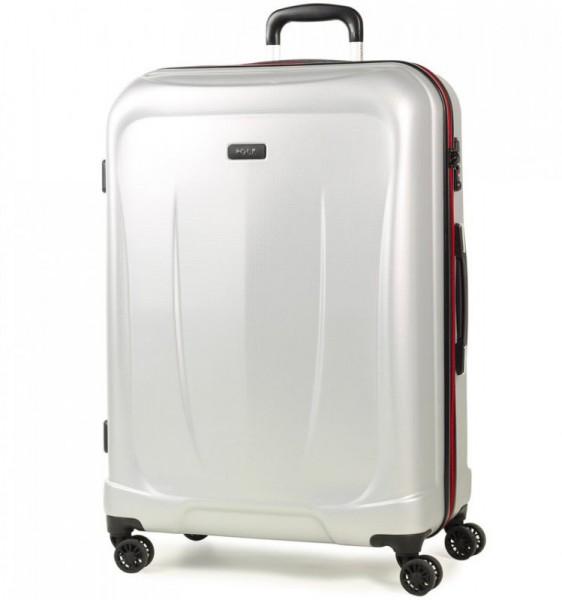 ROCK TR-0165 Delta L Silver ABS cestovní kufr na 4 kolečkách TSA 75 cm 89-107 l