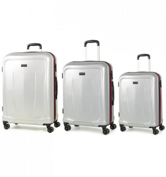 ROCK TR-0165 Delta S/M/L Silver sada 3 cestovních kufrů na kolečkách TSA 55/65/75 cm