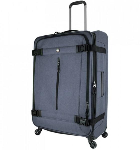 Mia Toro M1135 Ischia L Grey textilní cestovní kufr na 4 kolečkách 78 cm 91-114 l
