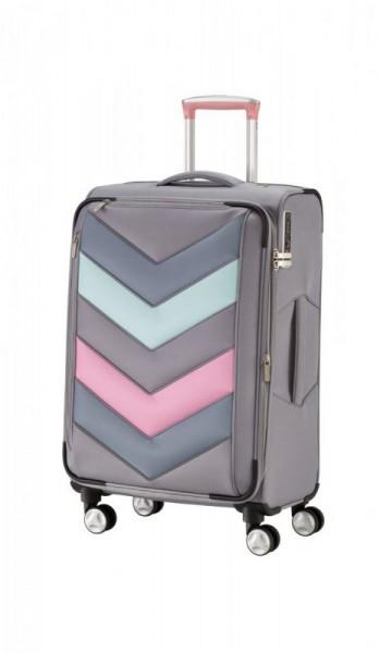Titan Spotlight Soft 4w M Grey Sorbet textilní cestovní kufr na 4 kolečkách TSA 65 cm 71-80 l