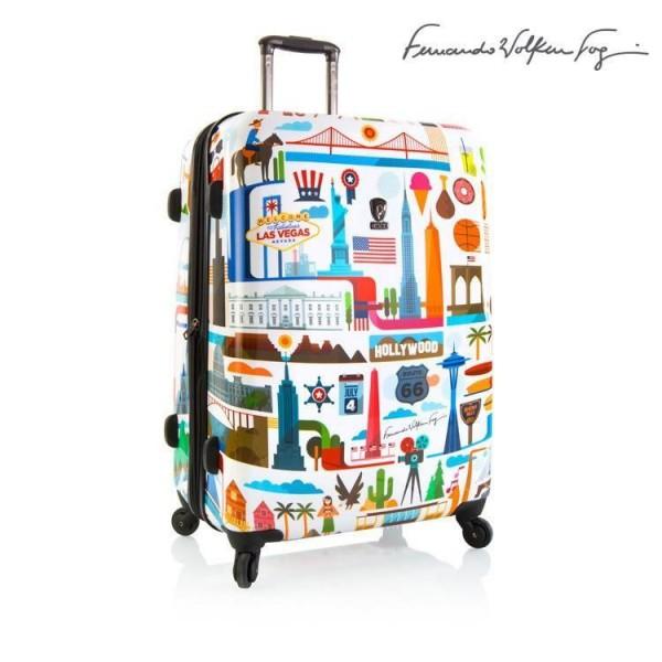 Heys Fernando FVT USA L White designový cestovní kufr na 4 kolečkách TSA 76 cm