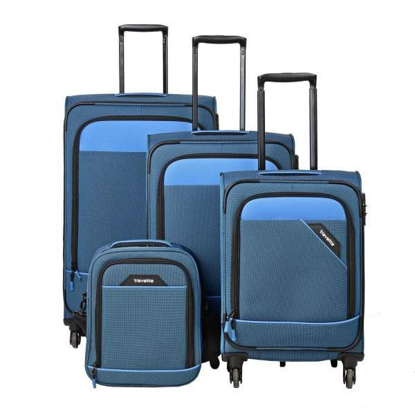Travelite Derby 4w S,M,L Blue – sada 3 kufrů + Board Bag