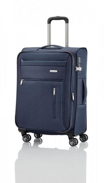 Travelite Capri 4w M Navy cestovní kufr na 4 kolečkách TSA 66 cm 67-77 l