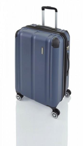 Travelite City 4w M Navy cestovní kufr na 4 kolečkách TSA 68 cm 78-86 l