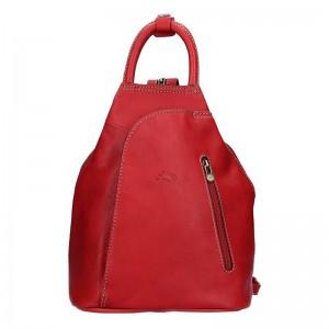 Elegantní dámský kožený batoh Katana Paula – červená