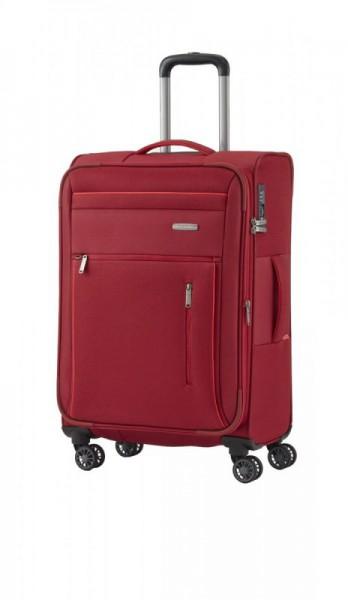 Travelite Capri 4w M Red cestovní kufr na 4 kolečkách TSA 66 cm 67-77 l
