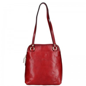Dámská kožená batůžko kabelka Katana Cindy – červená