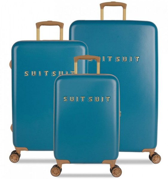SUITSUIT Fab Seventies Seaport Blue sada 3 cestovních kufrů TSA 77/67/55 cm