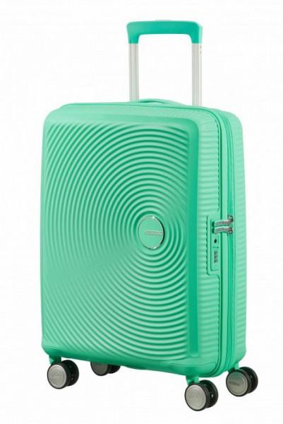 American Tourister Soundbox S Deep Mint rozšiřitelný palubní kufr TSA 55 cm
