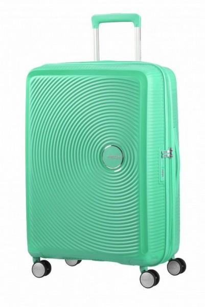 American Tourister Soundbox M Deep Mint rozšiřitelný cestovní kufr TSA 67 cm