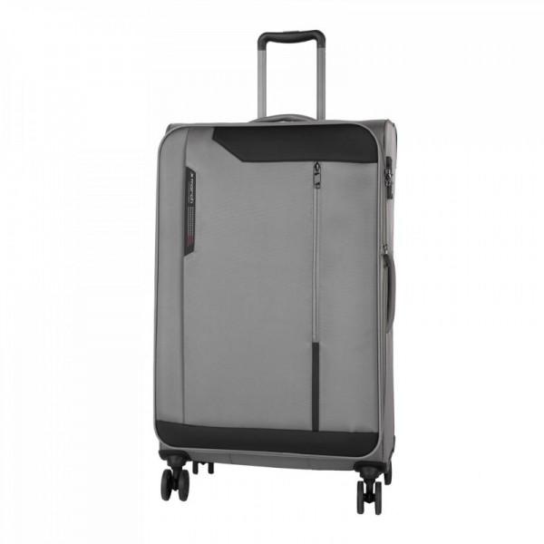 March Stardust L Grey rozšiřitelný cestovní kufr na 4 kolečkách TSA 78 cm 121 l