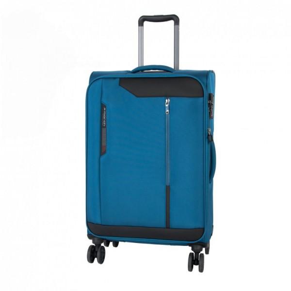 March Stardust M Petrol Blue rozšiřitelný cestovní kufr na 4 kolečkách TSA 68 cm 83 l